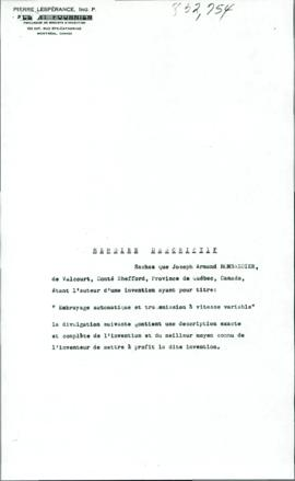 "Documents afférents du brevet ""Embrayage automatique et transmission à vitesse variable"""